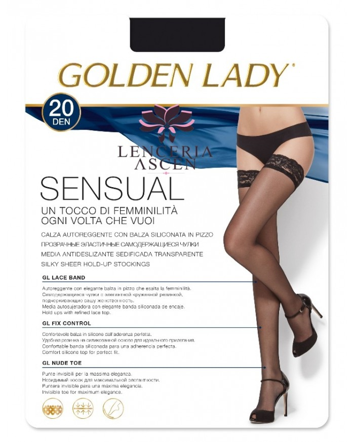 Media Antideslizante Sensual 20 Golden Lady